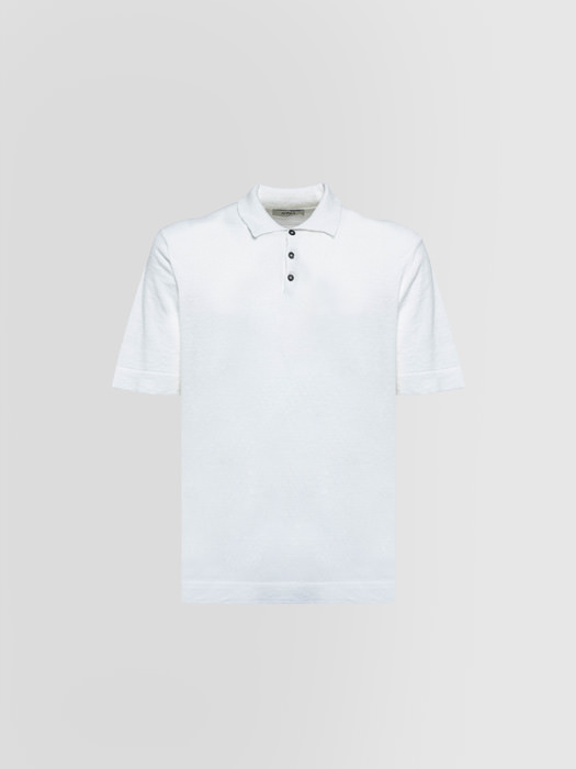 ALPHA STUDIO POLO SHIRT IN LINEN AND COTTON