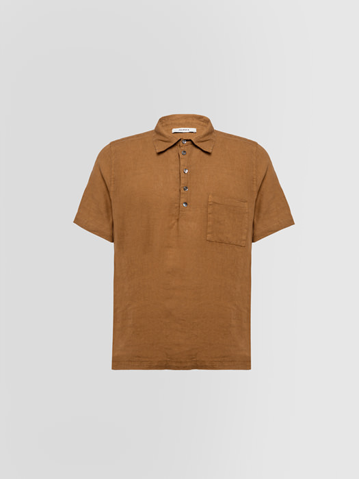 ALPHA STUDIO POLO SHIRT IN SHUTTLE-WOVEN LINEN
