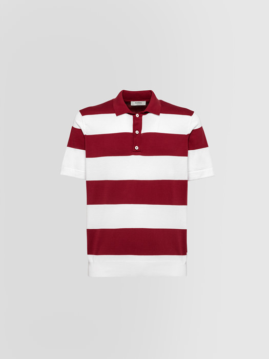 ALPHA STUDIO MODERN STRIPE POLO SHIRT IN COTTON