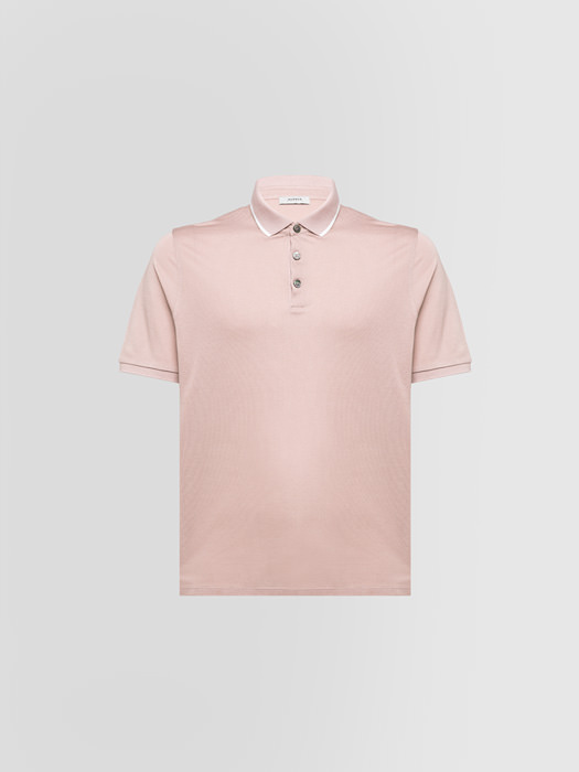 ALPHA STUDIO PIQUE POLO SHIRT IN SILK AND COTTON