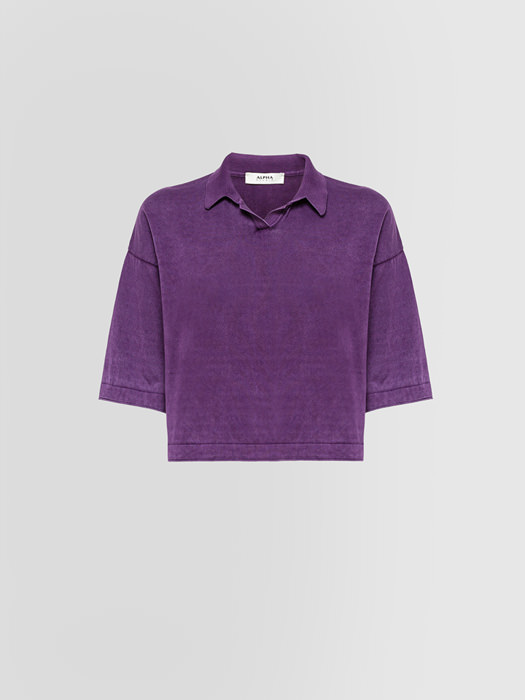 ALPHA STUDIO SHORT POLO SHIRT IN COTTON