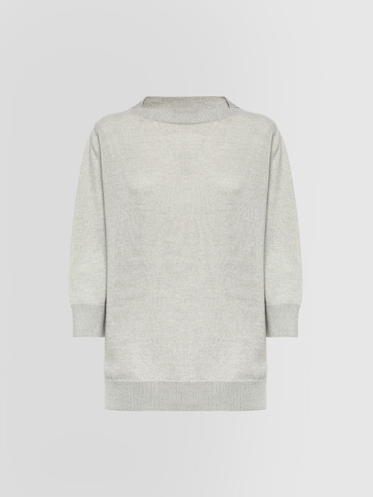 ALPHA STUDIO: COZI CHIC COLLARLESS SWEATER IN MIXED WOOL
