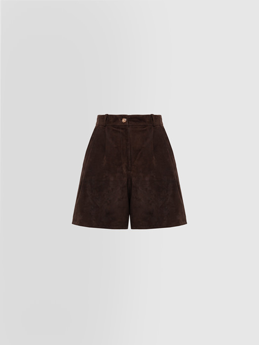 ALPHA STUDIO DARTED SHORTS IN SUEDE