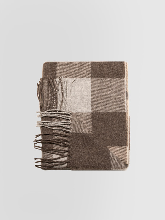 ALPHA STUDIO: CHECK PRINT STOLE IN WOOL