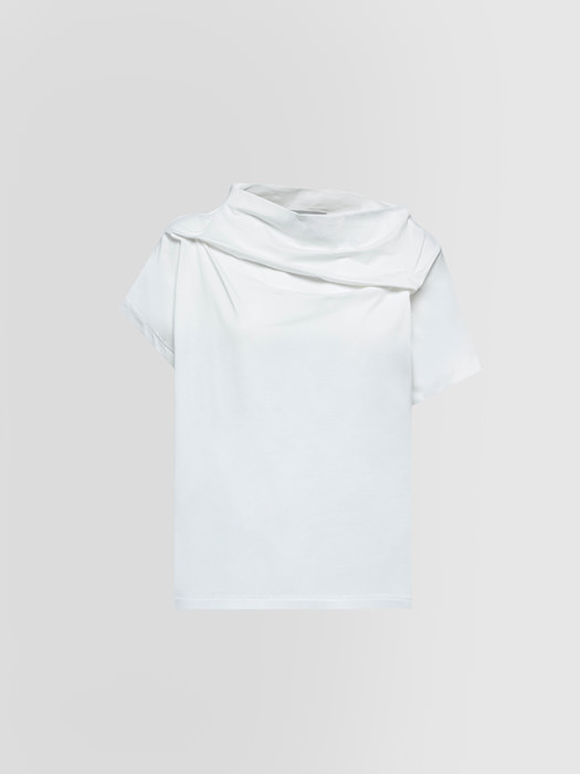 ALPHA STUDIO ASYMMETRIC T-SHIRT IN THICK JERSEY