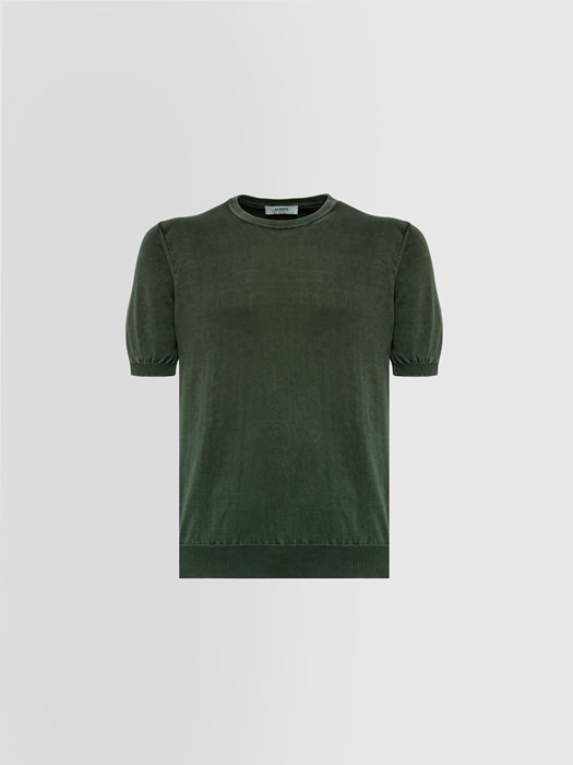 ALPHA STUDIO BASIC T-SHIRT IN DYED COTTON