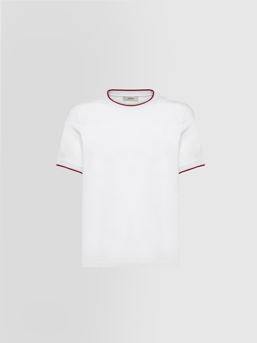 ALPHA STUDIO CONTRAST T-SHIRT IN COTTON