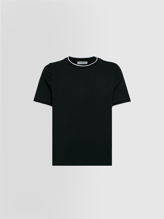 ALPHA STUDIO: CONTRAST T-SHIRT IN COTTON