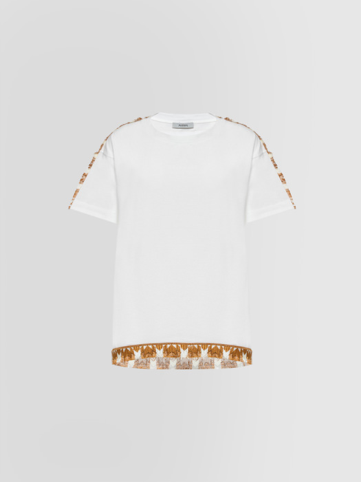ALPHA STUDIO ETHNO FRAYED T-SHIRT IN JERSEY
