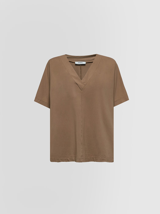 ALPHA STUDIO ICE V NECK T-SHIRT IN COTTON