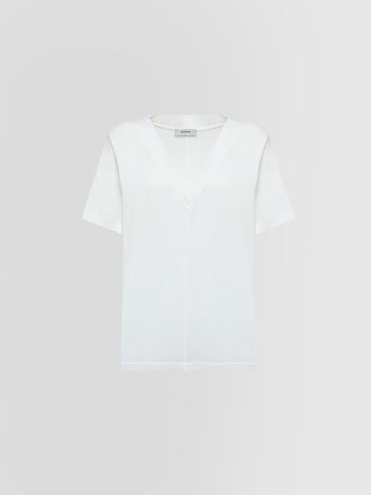 ALPHA STUDIO: ICE V NECK T-SHIRT IN COTTON