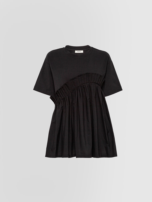 ALPHA STUDIO RUFFLED T-SHIRT IN JERSEY AND POPLIN