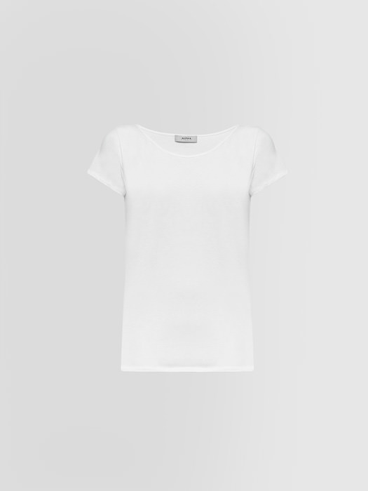 ALPHA STUDIO BOAT NECK T-SHIRT IN JERSEY
