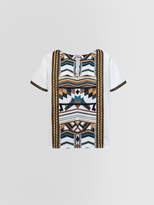 ALPHA STUDIO TUNIC WITH EMBROIDERY AND ETHNIC RIBBONS