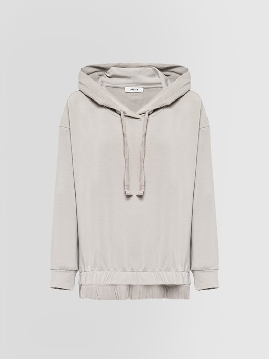 ALPHA STUDIO: OVERSIZED HOODED SWEATSHIRT IN JERSEY